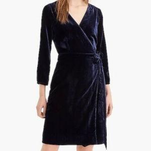 NWT J. CREW Drapey Velvet Wrap Dress in Navy